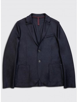 Harris Wharf Light Pressed Wool Blazer Navy Blue