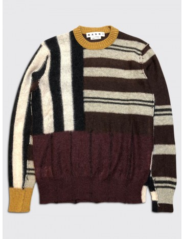 Marni Reverse Patchwork Mohair Sweater Burgundy