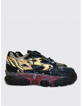 Maison Margiela Fusion Sneaker Black Gold Red