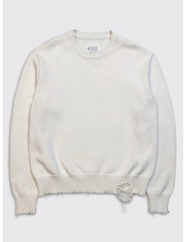Maison Margiela Destroyed Sweater Off White