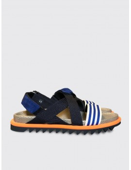 Dries van Noten Velcro Strap Sandals Blue Orange