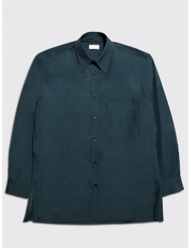 Lemaire Straight Collar Shirt Petrol Blue