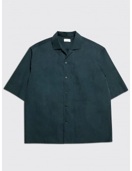 Lemaire Convertible Collar Shirt Petrol Blue