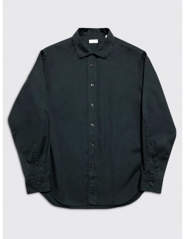 Harris Wharf Camp Collar Shirt Dark Blue