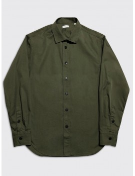 Harris Wharf Camp Collar Shirt Military Green